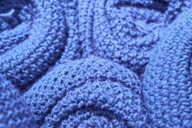 Woolen strickwarenahaufnahme der modischen sargasso-seefarbe, beschaffenheit, hintergrund Premium Fotos