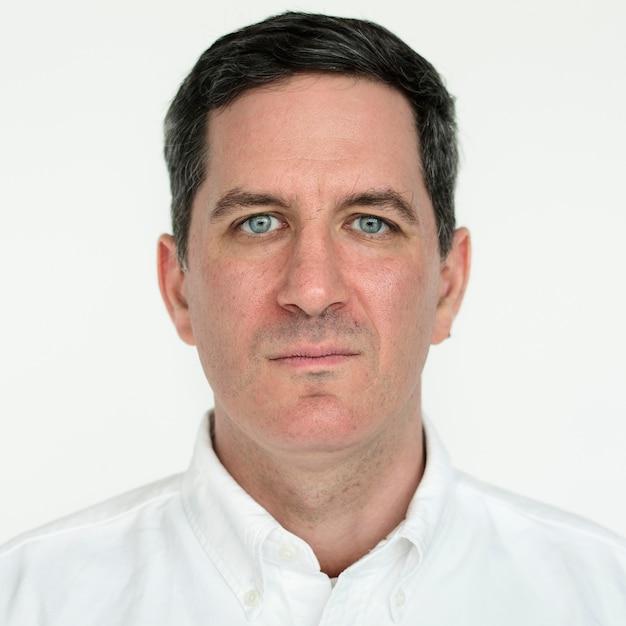 Worldface-amerikanischer mann in einem weißen hintergrund Kostenlose Fotos
