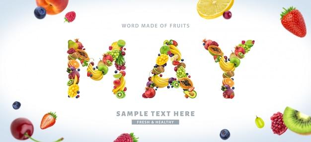Wort mai gemacht von den verschiedenen früchten und von den beeren, fruchtguß lokalisiert auf weißem hintergrund Premium Fotos