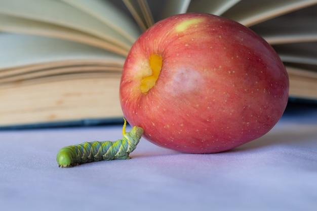 Würmer und äpfel auf verschwommenem retro- einem buchhintergrund, Premium Fotos