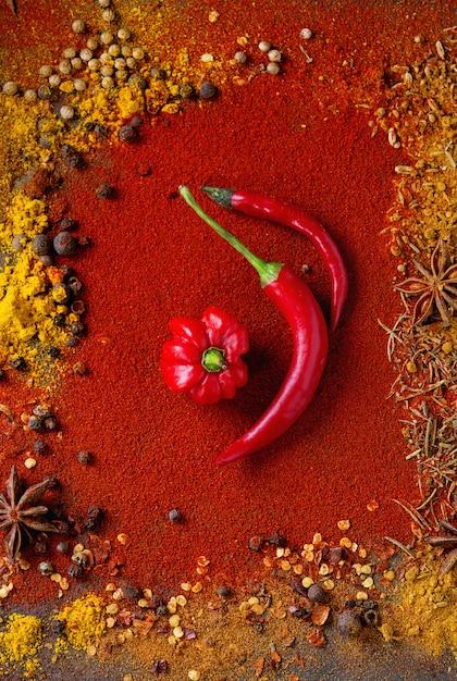 Würziger hintergrund mit chilischoten Premium Fotos