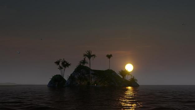 Wunderschöne insel mit feuer und palmen Premium Fotos