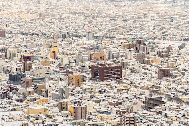 Wunderschöne landschaft und stadtbild vom berg hakodate für einen blick auf die skyline der stadt Kostenlose Fotos