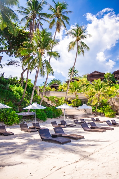 Wunderschönes kleines hotel in einem tropischen, exotischen resort Premium Fotos