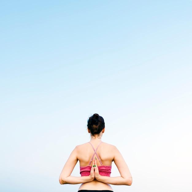 Yoga-meditations-konzentrations-ruhiges serene relaxation concept Premium Fotos