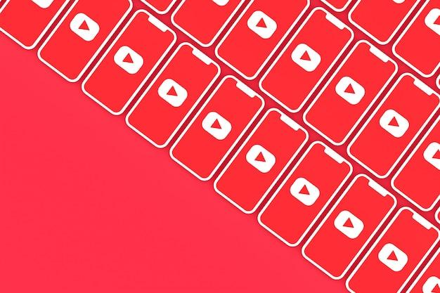 Youtube logo hintergrund auf dem bildschirm smartphone oder handy 3d rendern Premium Fotos