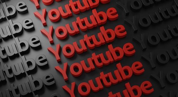 Youtube multiple typografie an der dunklen wand Premium Fotos