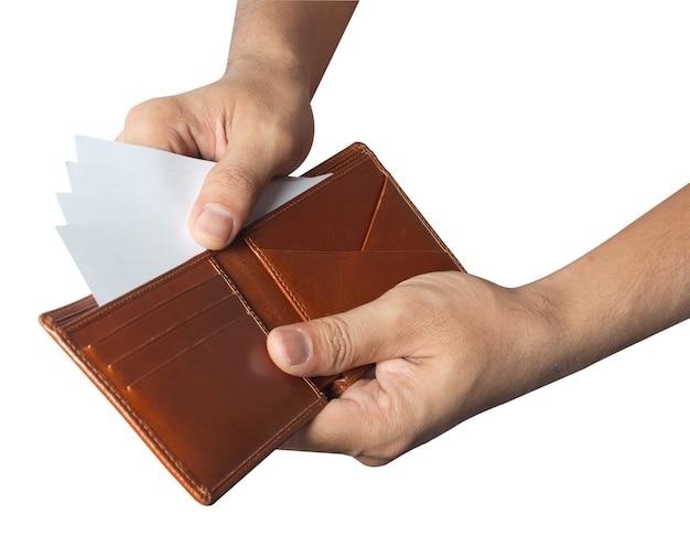 Zählte die geldgeldbörse aus, die auf weißem hintergrund lokalisiert wurde Premium Fotos