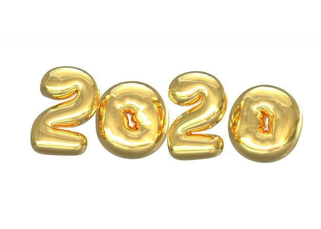 Zahlen von 2020 goldenen ballonen Premium Fotos