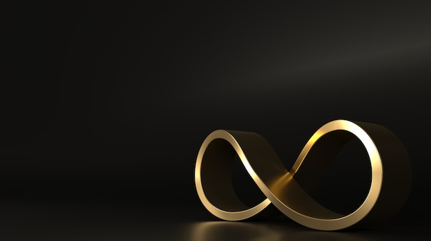 Zeichen unendlich golden spirale geschlossene form Premium Fotos