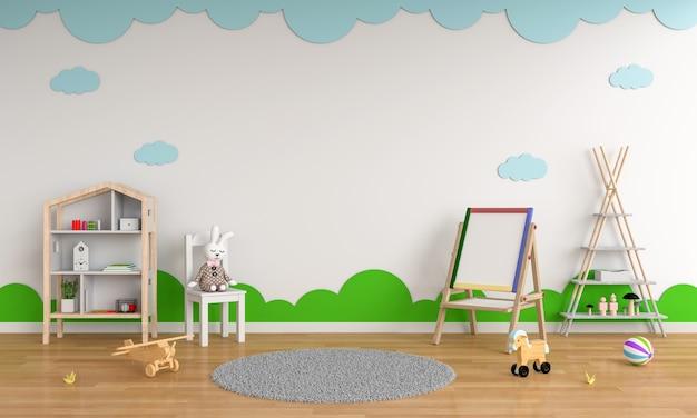 Zeichenbrett und stuhl im kinderrauminnenraum für modell Premium Fotos