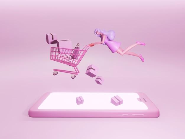 Zeichentrickfigur einer hübschen und glücklichen frau, die mit einem einkaufswagen über einem mobiltelefon fliegt. Premium Fotos