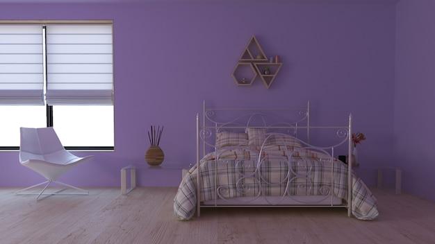 Zeitgenössischer innenraum des schlafzimmer-3d Kostenlose Fotos