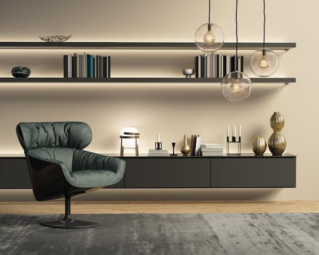 Zeitgenössisches modernes wandsystemwohnzimmer Premium Fotos