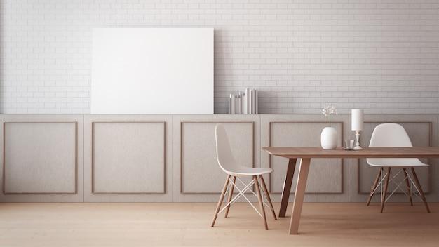 Zeitloses esszimmer wandplakat modell / 3d-rendering interieur Premium Fotos