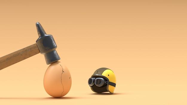 Zerbrochene eier, weil sie keine helme tragen. Premium Fotos