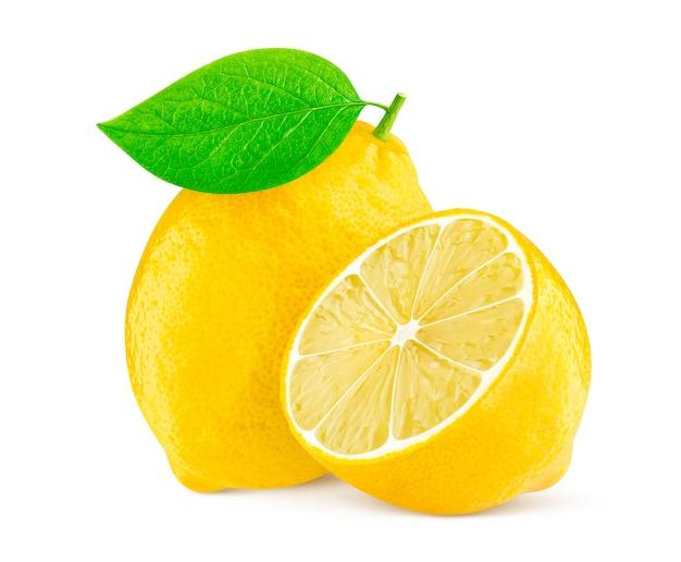 Zitrone getrennt auf weißem hintergrund Premium Fotos