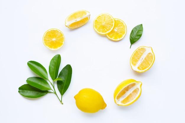 Zitronenscheiben rundeten zusammensetzungsrahmen mit blättern Premium Fotos