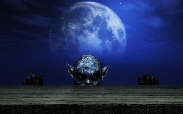Zombie 3d, der über einem holztisch gegen einen moonlit himmel schaut Premium Fotos