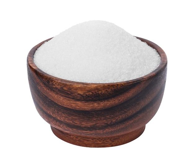 Zucker in der hölzernen schüssel getrennt auf weiß Premium Fotos