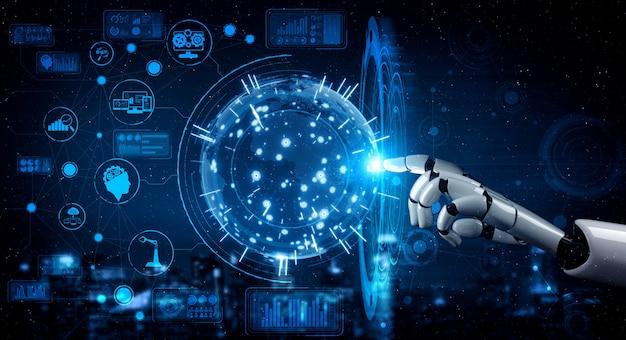 Zukünftiger armroboter für künstliche intelligenz Premium Fotos