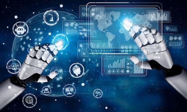 Zukünftiger roboter und cyborg für künstliche intelligenz. Premium Fotos