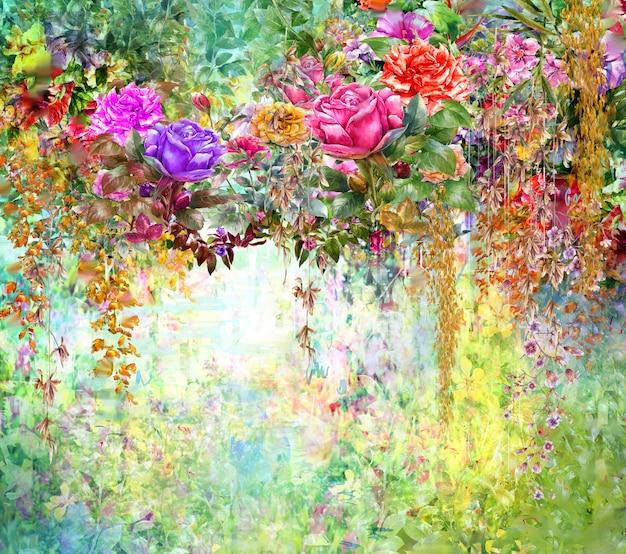 Zusammenfassung blüht aquarellmalerei. mehrfarbige frühlingsblumen Premium Fotos