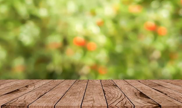 Zusammenfassung unscharfer apfelbauernhofgarten mit brauner hölzerner perspektive Premium Fotos