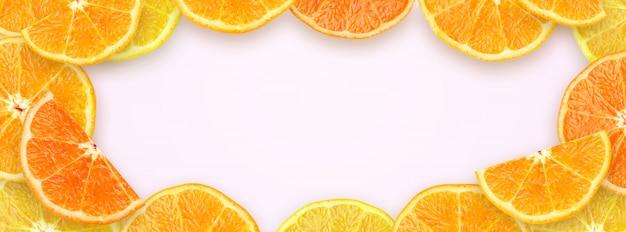 Zusammengedrückte scheiben-orange mit kopien-raum-hintergrund für website-abdeckungs-fahne Premium Fotos