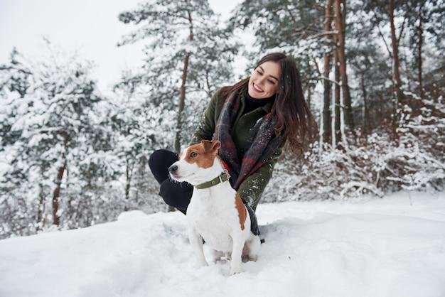 Zusammensitzen. lächelnder brunette, der spaß beim gehen mit ihrem hund im winterpark hat Premium Fotos