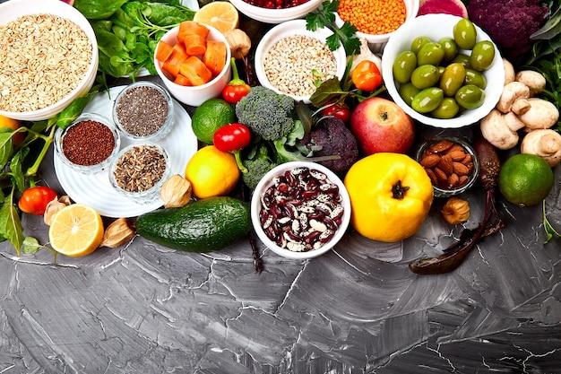 Zutaten für die gesunde ernährung Premium Fotos