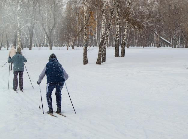 Zwei ältere menschen, die mit skistöcken im winter park ski fahren. aktiver rest und sport für pensionäre, gesunder lebensstil. rückansicht Premium Fotos