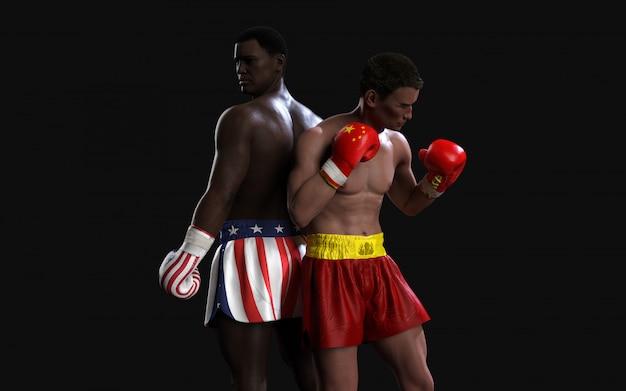 Zwei boxer kämpfen mit schlägen gegen us- und china-flaggen Premium Fotos