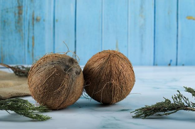 Zwei braune kokosnussfrüchte auf marmoroberfläche Kostenlose Fotos