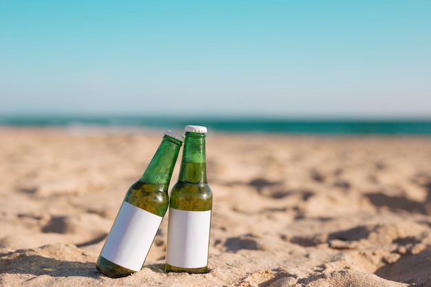 Zwei flaschen bier am sandstrand Kostenlose Fotos