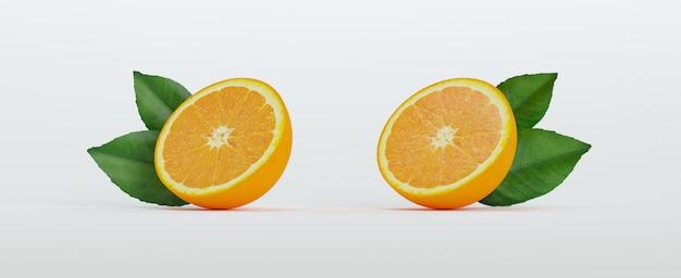 Zwei hälften orange mit blättern Premium Fotos