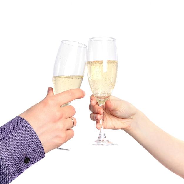 Zwei hände mit gläsern champagner. dating Premium Fotos