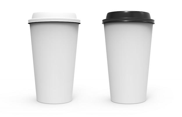 Zwei papierkaffeetasse Premium Fotos