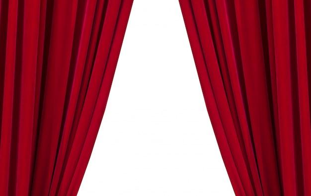 Zwei rote vorhänge auf dem weißen hintergrund Premium Fotos