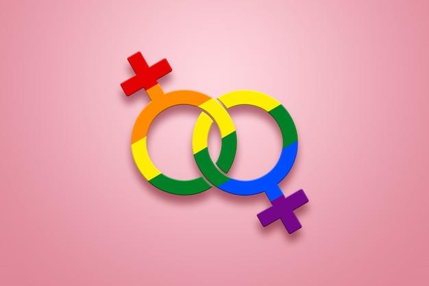Zwei weibliche zeichen sind in lgbt-farben auf ein rosa gemalt Premium Fotos