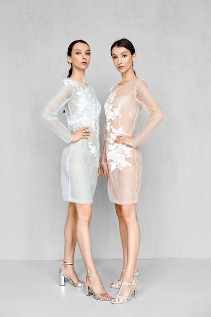 Zwei wunderschöne frauen in blass transparenten kleidern mit spitzendetails posieren auf identische weise Premium Fotos