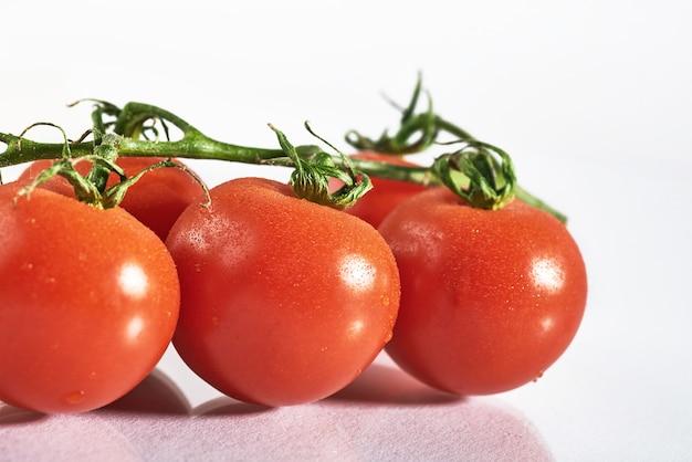 Zweig der roten bio-tomaten auf einem weißen. Kostenlose Fotos