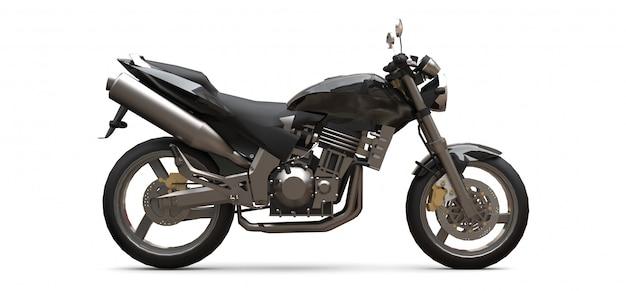 Zweisitzer-motorrad des schwarzen städtischen sports auf einem weißen hintergrund Premium Fotos