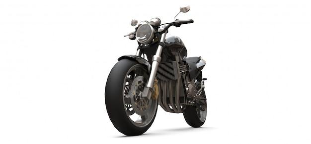 Zweisitziges motorrad des schwarzen städtischen sports. 3d-rendering. Premium Fotos