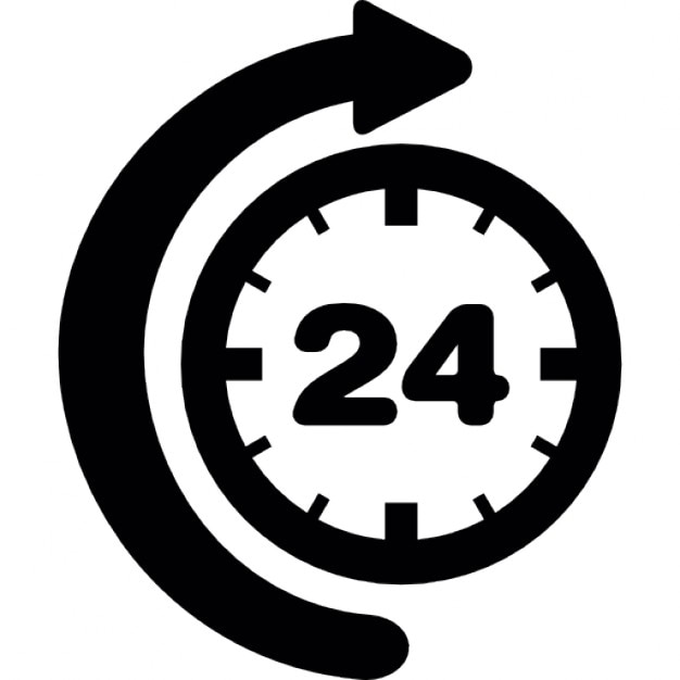 24 hour time with curve arrow Free Icon