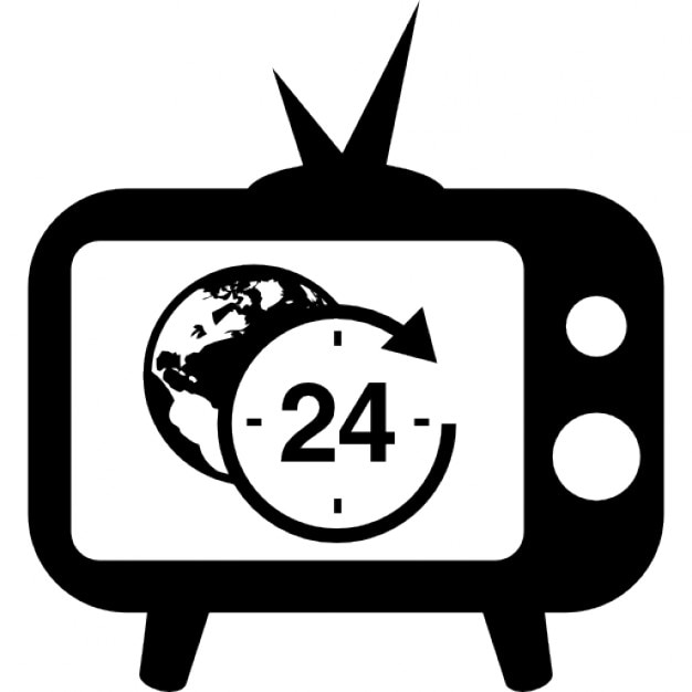 24 Hours International World News Transmission By Tv Free Icon
