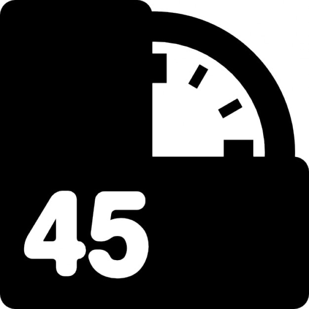 45 minutes on clock Icons