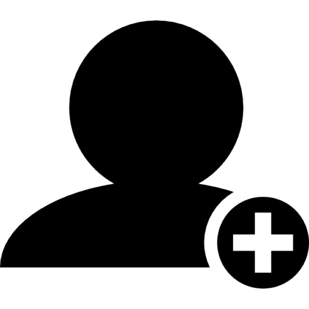 Add People Interface Symbol Of Black Person Close Up With Plus Sign