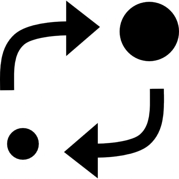 Analytics Symbol Of Two Circles Of Different Sizes With Two Arrows