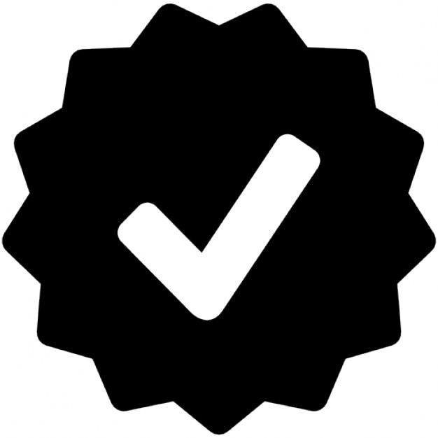 Approval symbol in starred badge Free Icon